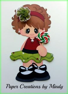 Christmas lollipop girl premade paper piecing scrapbooking page border ~ Paper Creations by Mindy Foam Crafts, Paper Crafts, Owl Pictures, Borders For Paper, Christmas Scrapbook, Lol Dolls, Scrapbook Embellishments, Treasure Boxes, Hand Embroidery Designs