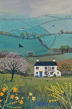 Print on paper of an English landscape in spring from an original acrylic painting Across Spring Hills by Jo Grundy Acrylic Painting Acrylic acrylic painting English Grundy Hills illustration Landscape Original Painting Paper Print Spring Landscape Design Plans, Landscape Art, Landscape Paintings, Acrylic Paintings, House Landscape, Spring Landscape, Nature Paintings, Landscape Pictures, Landscape Architecture