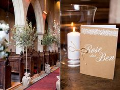Trees Church Aisle Pew Ends Creative Crafty Luxe Glitter Gold Wedding http://www.katherineashdown.co.uk/