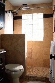 Shower idea - partial wall and a curtain