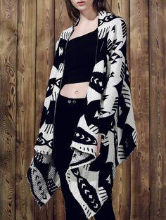 Stylish Long Sleeve Geometric Pattern Loose-Fitting Asymmetrical Women's Cardigan