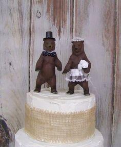 Bear Cake Topper, Bear Wedding Cake Topper, Animal Cake Topper, Woodland Cake Topper, Forest Cake Topper by sugarplumcottage on Etsy https://www.etsy.com/listing/218414738/bear-cake-topper-bear-wedding-cake