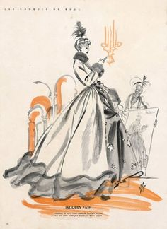 Jacques Fath 1947 Bosc Fashion Illustration Evening Gown