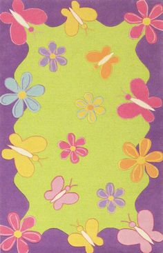 Kids Area Rug Rectangle Lime Green Color Kas Kidding Around Collection