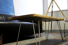 Black Walnut Coffee Table with brushed steel hairpin legs- Modern Rustic Solid Slab -Live Edge Handcrafted Office Waiting Room Table 1074. $520.00, via Etsy.