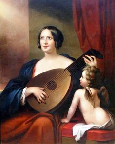Cephas Giovanni Thompson (1809–1888) Lady with a Lute