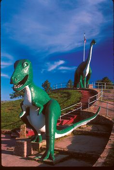 Free family fun at one of the Black Hills' original tourist attractions, open to the public since 1936!  Dinosaur Park is located on a ridge of sandstone that encircles the Black Hills.  Along this ridge dinosaurs of the Late Jurassic and Early Cretaceous have been found.  Not far from the park dinosaur footprints have been found
