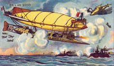The set of postcards, produced between 1899 and 1910, predict what life would be like in Paris in the year 2000 - A future prediction of France's air force.
