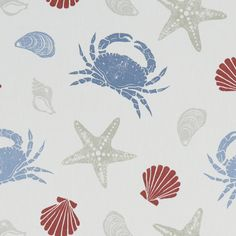Create a seaside themed look in your home with the Offshore printed curtain fabric. This fabric has a printed pattern on a neutral cotton background. Care Instructions wash Do not bleach Warm iron How To Make Curtains, Made To Measure Curtains, Curtains For Sale, Diy Blinds, Curtains With Blinds, Curtain Material, Curtain Fabric, Clarke And Clarke Fabric, Elephant Fabric