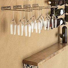 Stemware Glass Rack , Chrome Finish Wine Glass Hanger Storage Wall Mountable or Under Cabinet by Rack and Hook