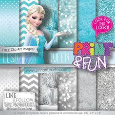 Digital Paper FROZEN Elsa clip art Background Patterns glitter bokeh silver chevron teal aqua Party Printables bottle labels favor boxes