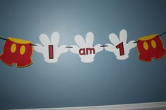 """Mickey Mouse Themed """"I am 1"""" banner. $10.00, via Etsy."""