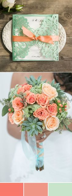 elegant peach and mint wedding color ideas
