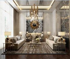 2. Interior of the home would include many mirrors or the color silver. Along with furniture that is gold or just the color gold included.