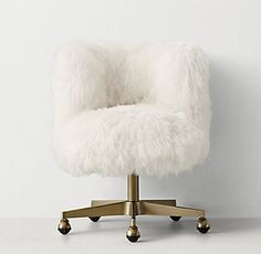 Kinney Mongolian Lamb Desk Chair   Antiqued Brass