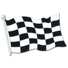 Decoratie Finish Race Vlag cutout -  Een decoratie van een finish vlag. Afmeting: 45cm. Leuk voor een sport evenement, kinderfeest of gewoon als decoratie in een kinder of tiener slaapkamer.