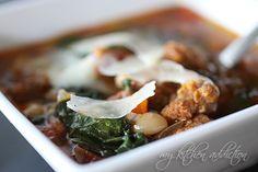 Crockpot sausage white bean kale soup