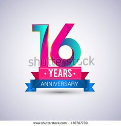 16 years anniversary logo, blue and red colored vector design