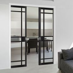 Greenwich Black Primed Absolute Evokit Double Pocket Doors - Clear Glass, a stunning door with an excellent pocket door system to suit your home. Double Pocket Door, Pocket Door Frame, Glass Pocket Doors, Sliding Pocket Doors, Internal Sliding Doors, Sliding Glass Door, Crittal Doors, Door Fittings, Flush Doors