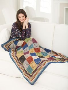 Redecorate your living room for fall with this rustic style crochet afghan made with Heartland, one of our many American-made yarns.