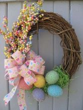 Easter Egg Wreath Celebrate Easter and Spring with our adorable Easter Egg Wreath! We started with a grapevine wreath base and nested faux Wreath Crafts, Diy Wreath, Grapevine Wreath, Diy Crafts, Wreath Ideas, Door Wreaths, Easter Projects, Easter Crafts, Easter Decor