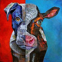 """""""Coequal"""" by Dana Ellyn.  piesek i krówka - rożni je jedynie szata, forma..a w środku ta sama miłość."""