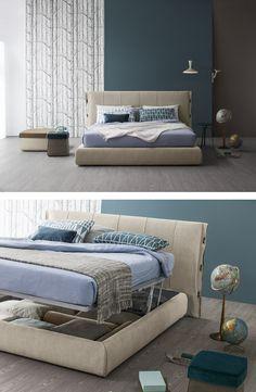 Upholstered fabric storage #bed CUFF by Bonaldo | #design Mauro Lipparini @bonaldo