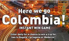Enter the JETBLUE Here We Go Columbia Instant Win Game every day for a chance to win a trip to Bogotá, Cartagena, or Medellín. Wow! This is a really short promotion and each remaining day …