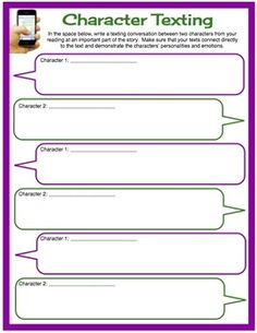 FREE DOWNLOAD ... Character Texting: What a fun idea for older kids!