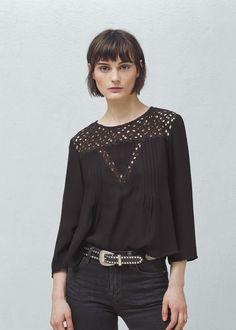 Flowy fabric Rounded neck Long sleeve Pleated detail Teardrop fastening at back Openwork panel Mango Outlet, Mango France, Black Noir, Shirt Blouses, Shirts, Blouse Styles, Black Blouse, Blouses For Women, Blouse