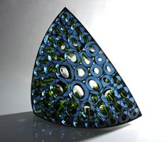 Matthew Curtis Steel Blue Green Phloem Blown & fused and cold worked glass, stainless steel frame 16 x 20 x 7 Inches