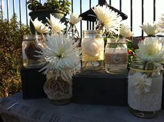 mason jars for wediing with flowers | Fill them up with flowers and hang them on the ceremony chairs. So ...