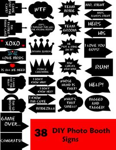DIY 31 Fun Photo Booth Prop Set via Etsy. I like these, but ill make my own phrases in a much more decent way Wedding Photo Booth Props, Party Props, Photo Booth Signs, Photobooth Idea, Party Ideas, Wedding Signs, Diy Wedding, Wedding Ideas, Fun Photo