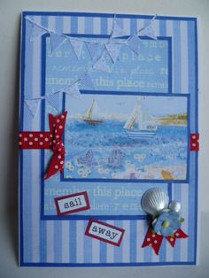Nautical card using image and papers from Halcyon days by Crafter's Companion.