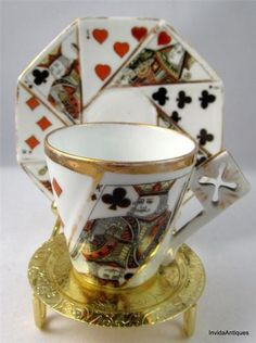 Vintage Playing Cards Queen of Hearts China Tea Cup & Saucer