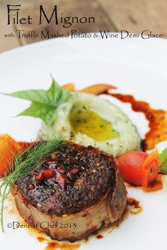 Bacon Wrapped Wagyu Tenderloin Filet Mignon with Truffle Mashed Potato, Demi Glace, Balsamic Reduction & Tomato Confit
