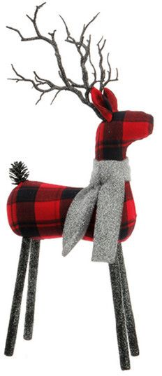 Red buffalo plaid deer with light grey scarf. This is so cute! I wonder if I could make something similar on my own? Sstyleaffiliate