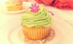 Soft lime green vanilla cupcake www.designerscupcakes.com
