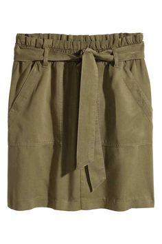 Falda de lyocell - Verde caqui - MUJER   H&M ES