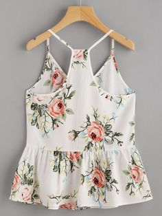 To find out about the Rose Cluster Print Peplum Racerback Cami Top at SHEIN, part of our latest Tank Tops & Camis ready to shop online today! Cami Tops, Girl Fashion, Fashion Outfits, Womens Fashion, Summer Outfits, Cute Outfits, Ladies Dress Design, Passion For Fashion, Blouse Designs