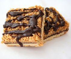 Samoa Bars - buttery shortbread covered with chocolate, caramel, coconut and more chocolate