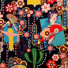 Fabric, Ranchera in Black, Ranch Senoritas Women, Alexander Henry Folklorico, By the Yard