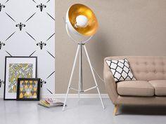 Wohnzimmer standleuchte ~ Modernes wohnzimmer in weiß beige acro lampe minimalistisch