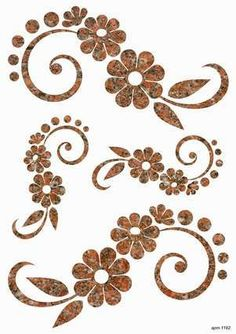 Flower stencils to use for applique. Stencil Patterns, Stencil Designs, Embroidery Patterns, Hand Embroidery, Motifs Islamiques, Diy And Crafts, Arts And Crafts, Swirls, Flower Designs