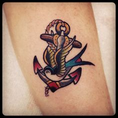 Old school anchor, swallow, sailor's Tattoo by Mr Curtis at tribalbodyart.co.uk
