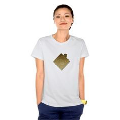 Rugby player metallic gold tshirt. Rugby World Cup women's t-shirt designed with an illustration of a rugby player running passing the ball on isolated background done in metallic gold style. #rwc #rwc2015 #rugbyworldcup