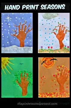 hand & finger print 4 seasons craft, winter, spring, summer & fall trees & leaves. Kid's arts & crafts