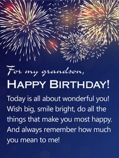 Send Free You Mean a Lot to Me - Happy Birthday Wishes Card for Grandson to Loved Ones on Birthday & Greeting Cards by Davia. It's free, and you also can use your own customized birthday calendar and birthday reminders. Grandson Birthday Quotes, Grandson Quotes, Happy Birthday Wishes Cards, Birthday Poems, Birthday Greetings, Nana Quotes, Birthday Prayer, Birthday Cartoon, Birthday Clipart
