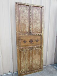 Antique Mexican Old Door #2-Primitive-Rustic-32.5x82-Headboard-Table-Gorgeous-Spanish-Iron Clavos-Shabby White-Distressed-Barn Doors by RanchoAdobe on Etsy