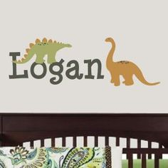 Wall Decals :: Kids Name / Initial Wall Decal :: Dinosaur Personalized Name Wall Decal -